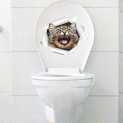QTXINGMU Agujero Vista 3D Perros Gatos Vivos Adhesivo De Pared Baño Baño Salón Cocina Decoración Calcomanías De Vinilo Adhesivo Animales Arte Cartel(2Pcs) 8