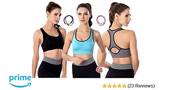 8c7e73588c YIVEKO Padded Sports Bras for Women Racerback High Impact Fitness Bras  Removable Padded Seamless Yoga Gym Workouts Bras at Amazon Women s Clothing  store