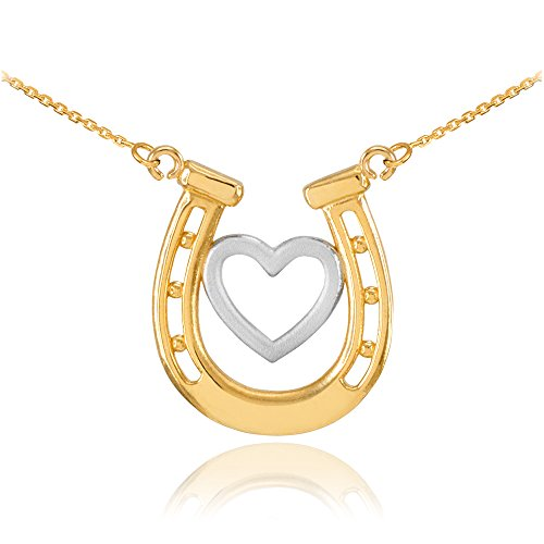 Collier Femme Pendentif 14 ct Bicolore Or Jaune Chanceux Charme Fer A Cheval avec Cœur (Livré avec une 45cm Chaîne)