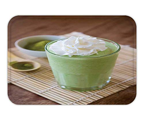 - lsrIYzy Doormat Green Tea Smoothie Blended Beverage with Whipped Cream Matcha Powder and Spoon