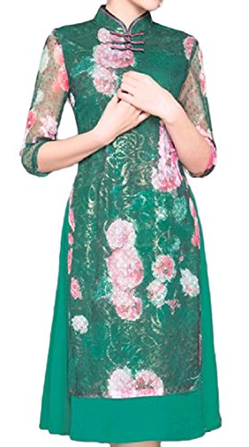 Floral Patchwork Chinese Green Hem Evening Dress Split Line Curvy Tribal Coolred Lace Women Cheongsam EwAUSqqxC