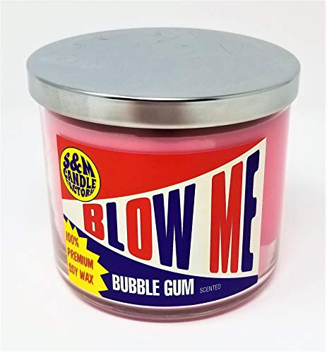S&M Candle Factory Blow Me Candle ~ Bubble Gum Scented Soy Candle Large 3 Wick Scented Soy Wax Candle ~ 80 Hour Burn Time ~ (Blow ME)