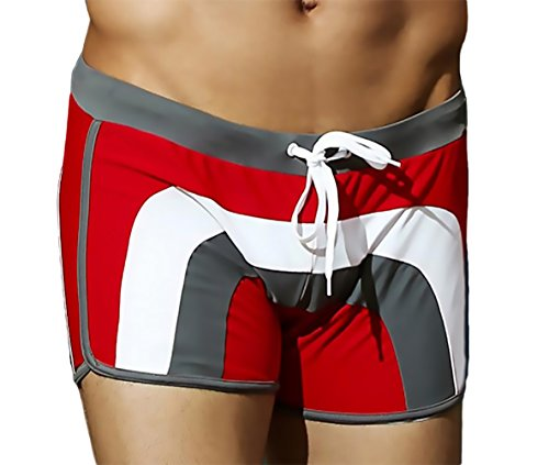 KINGDESON Men's Beach Sports Lace-Up Swimming Swimwear Brief Shorts Trunks