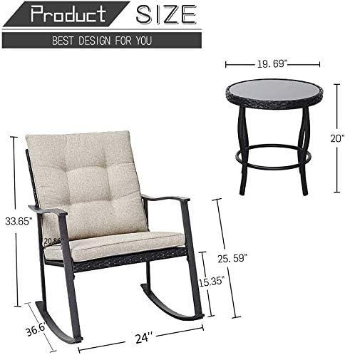 Oakmont 3-Piece Outdoor Rocking Chair Patio Furniture Bistro Sets 2 Chair