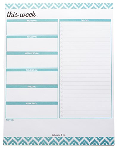 To-Do List and Weekly Planner Notepad- Teal