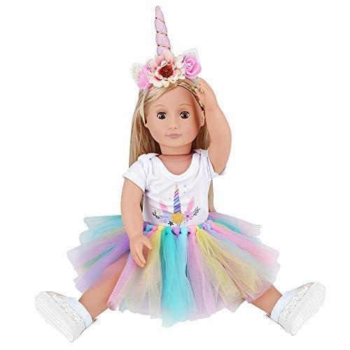 E-TING Dolls Clothes, Headband, Tutu fits for 18 inch Dolls (Unicorn Costume Set)