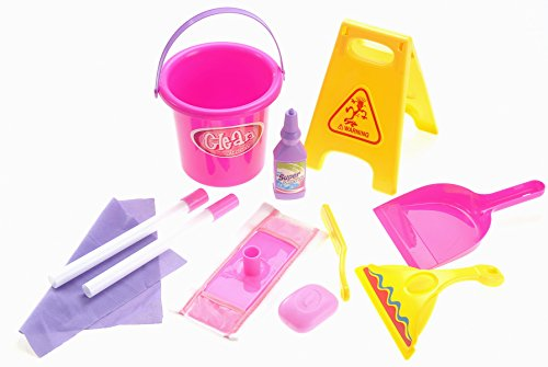 PowerTRC Little Helper Pretend Cleaning Toy Play Set with Mop, Brush, Bucket, Caution Sign ()