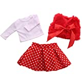 OHQ Chirstmas Clothes Dress Sweater2 For 18 Inch American Girl Doll Accessory Toy For 18 Inch American Girl Doll Accessory Girl Toy (RD)