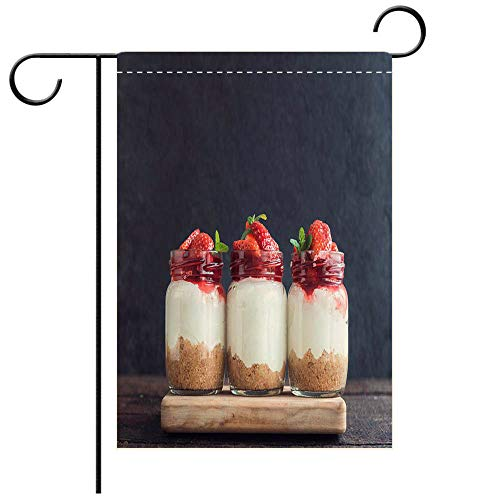 - BEICICI Custom Personalized Garden Flag Outdoor Flag Sweet Cheesecake with Strawberries Decorative Deck, Patio, Porch, Balcony Backyard, Garden or Lawn