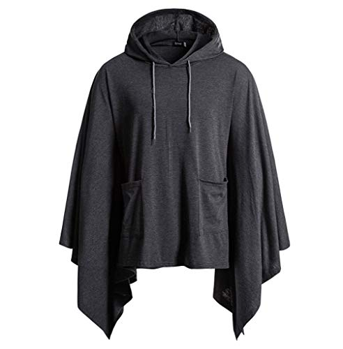 Mens Pocket Irregular Loose Bat Sleeve Hooded Cloak Cape Coat Hoodie Shirt Tops Dark Gray