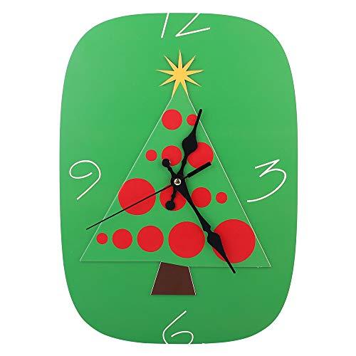 (BingYes Wood Wall Clock, Silent Non-Ticking Decorative Cartoon, Christmas Design Xmas Tree Shape Wooden Clock)