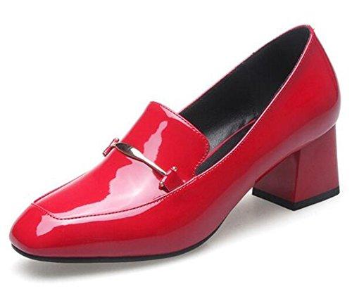 Easemax Femmes Élégante Bruni Orteil Carré Bas Haut Bloc Moyen Talon Slip Sur Les Pompes Chaussures Rouge