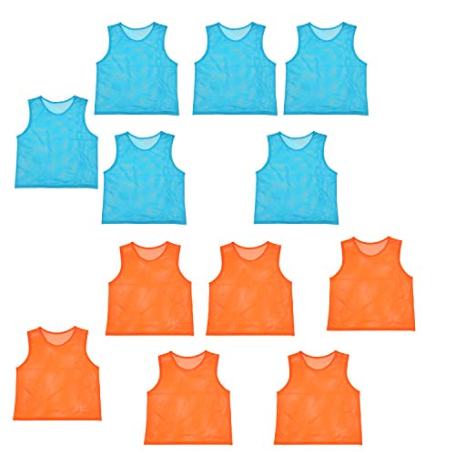 imflyker Scrimmage Team Practice Jerseys Nylon Mesh Vests Pinnies for Children Adult Sports Basketball, Soccer, Football, Volleyball (12 Pack)