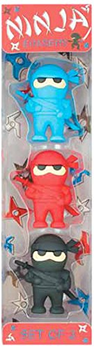 Ooly Ninja Erasers - Set of 3 - Blue, Red, and Black Colors - 1.75