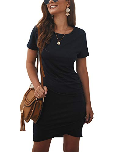 BTFBM Women's 2019 Casual Crew Neck Ruched Stretchy Bodycon T Shirt Short Mini Dress (104Black, Medium)
