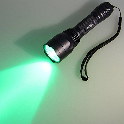 350 yard CREE LED Green Flashlight Kit Hog Coyote Varmints Predator Long Range Night Hunting Light (Flashlight + Dual Control Pressure Switch + 2 X 18650 Batteries + Charger + Barrel + Scope Mounts)