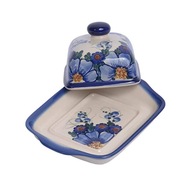 Traditional Polish Pottery, Handcrafted Ceramic Butter Dish with Lid, Boleslawiec Style Pattern, B.101.PASSION