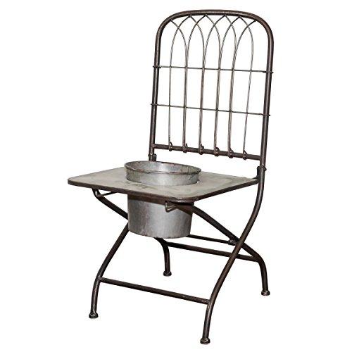 VIP Home Garden FH1730 Metal Chair Planter Gray by VIP Home Garden