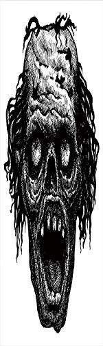 Halloween 3D Decorative Film Privacy Window Film No Glue,Frosted Film Decorative,Zombie Head Evil Dead Man Portrait Fiction Creature Scary Monster Graphic,for Home&Office,17.7x70.8Inch Black Dark -