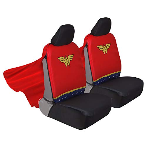 Superhero Seat Covers with Detachable Cape Backing - Front Car Seat Covers & Seat Back Protector  (Wonder Woman)
