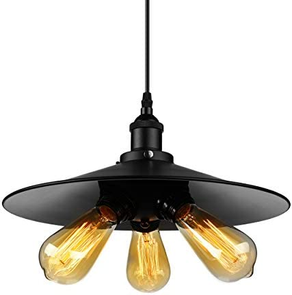 BAYCHEER HL421427 Industrial Vintage Retro Style American Country for Living Room Villa Restaurant bar Cafe Saucer Shape Pendant Light Lamp Chandelier with 3 Light, Black
