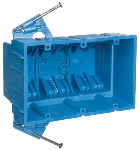 3 Gang 5.8 Inch by 3.8 Inch by 3.5 Inch Carlon BH353A Switch//Outlet Box Blue New Work