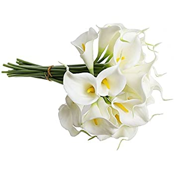Amazon ultnice bridal wedding bouquets artificial camellia 1 x calla lily bridal wedding bouquet 10 head latex real touch flower bouquets kc51 white junglespirit Choice Image