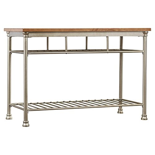 Kitchen Island with Butcher Block Top Includes Two Fixed Shelves for Storage and Levelers on the Feet for Added Stability 36' Stainless Steel High Shelf