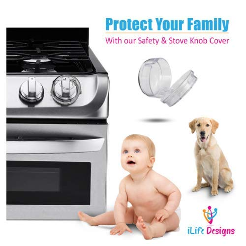 iLife Designs Child Safety Cover Locks for Gas Stove Knob Removable Reusable Clear Design 2018 Upgraded Protection Lock Child Toddler Baby Pets