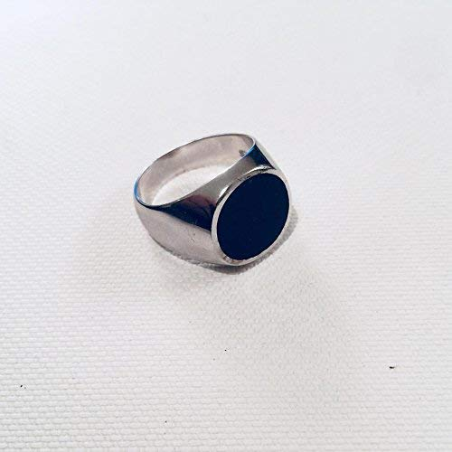 (Onyx ring, Round seal, Solid sterling silver, Size 7US)