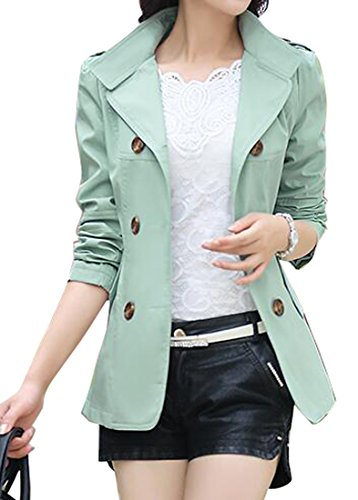 (SHOWNO Womens Double-breasted Lapel Short Trench Coat Jacket Blazer Coat Light Blue)