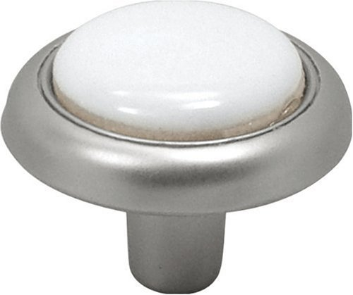 Hickory Hardware P710-SNW 1-1/4-Inch Tranquility Knob, Satin Nickel with White