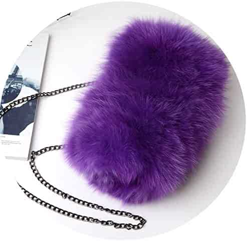 Fashion Designer Real Fox Fur Women Messenger Bag Winter Women Chain  Shoulder Bag Luxury Fur 3fed612ee00dd