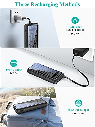 Portable Charger 36800mAh, LENSUM Power Bank Solar Charger with 2 Output Ports, Built-in 2 Durable Cables, External Battery Pack for Cellphone and Tablet