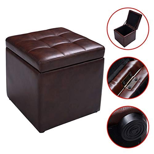 New Brown Cube Ottoman Pouffe Storage Box Lounge Seat Footstools with Hinge Top