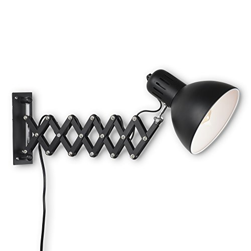 Adjustable Wall Fixture (Industrial Look Adjustable Wall Reading Task Multi-Purpose Lamp Swing Arm Scissor Extendable Accordion Type With Edison LED Bulb (Black))