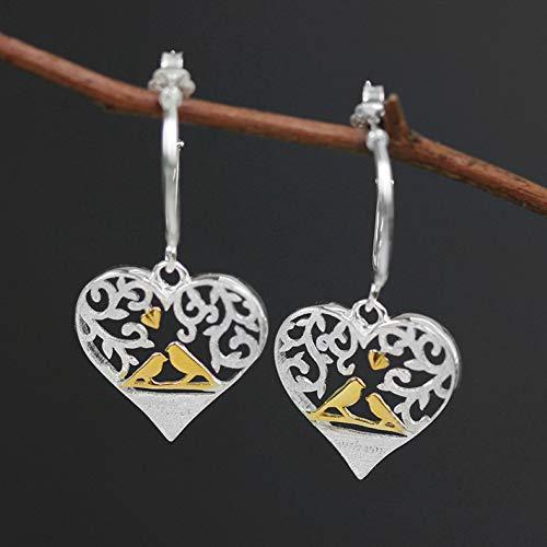 (SKYEARRING 925 Sterling Silver Love Heart Drop Earrings for Women Jewelry)