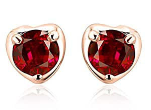 ZMC Women's Rose Gold Plated Alloy Swarovski Crystals Stud Earrings, Rose Gold/Pink