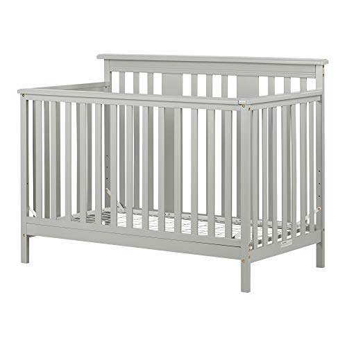 South Shore 11851 Cotton Candy Baby Crib 4 Heights with Toddler Rail Soft Gray