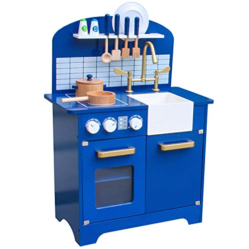 Pidoko Kids Play Kitchen, Navy Blue Toy Kitchen Set with Accessories, Limited Edition - Perfect for Boys and Girls