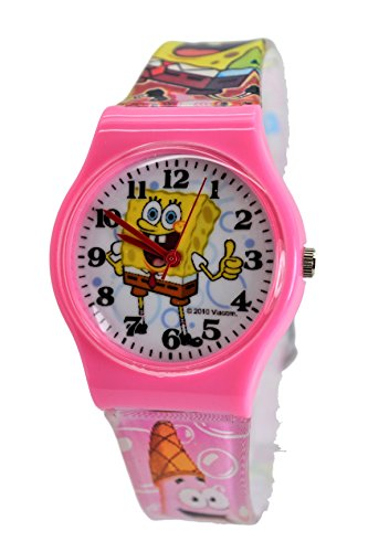 SpongeBob SquarePants Wrist Watch For Children Boy's Girls . Large Watch Display. (pink)