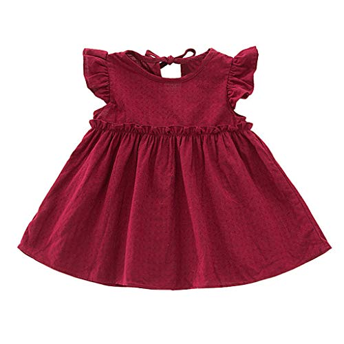 MALLOOM Toddler Kids Baby Girls Ruffle Solid Linen Elegant Princess Party Dress Clothes Wine