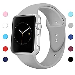 Sport Band For Apple Watch 42mm 38mm, Soft Silicone Sport Strap Replacement Bands For Iwatch Apple Watch Series 3, Series 2, Series 1 38mm Gray Small