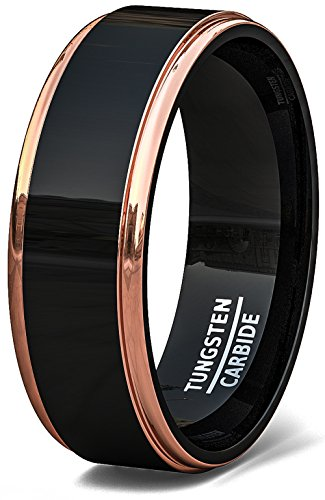 Mens Wedding Band Two Tone Black Polished Tungsten Ring 8mm Rose Gold Step Edge Comfort Fit (10.5) (Wedding Roses Tone)