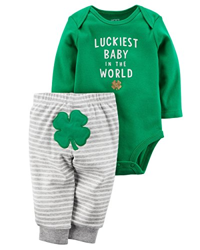 Carter's Boys' 2-Piece ST. Patrick's Day Bodysuit Pant Set, Green (9 Months) (St Patricks Day Baby Clothes)