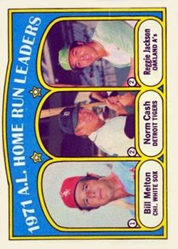 1972 Topps #90 AL Home Run Leaders Bill Melton Norm Cash Reggie Jackson Baseball Card-EX-MT *
