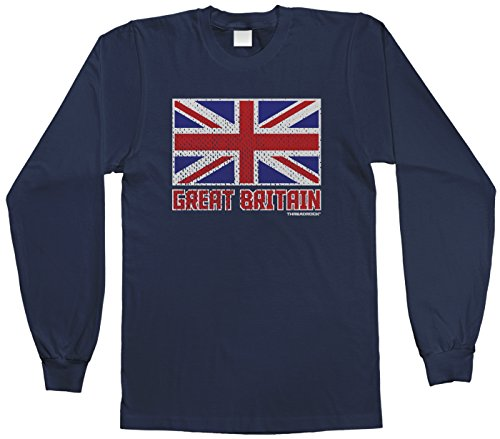 Threadrock Big Boys' Flag of Great Britain Youth Long Sleeve T-Shirt M Navy (United Kingdom Shirt compare prices)