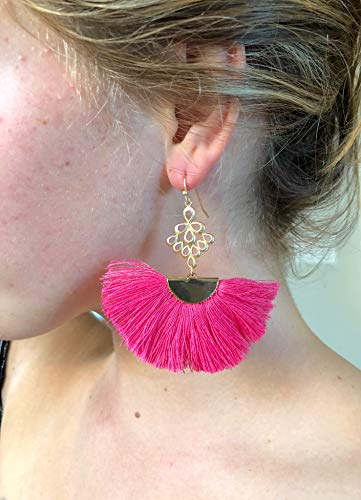 - Fan Tassel Earrings, Silk Tassel Earrings, Trendy Tassel Earrings, Hot Pink, Black, Red, Sapphire, Cream, Mauve, Wine, White, 14K Gold Fill Wires.