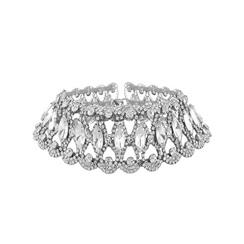 Bingirl Luxury Crystal Rhinestone Choker Necklace Collares Fashion Punk Wide Statement Necklace (Silver) (Necklace Wide Choker)