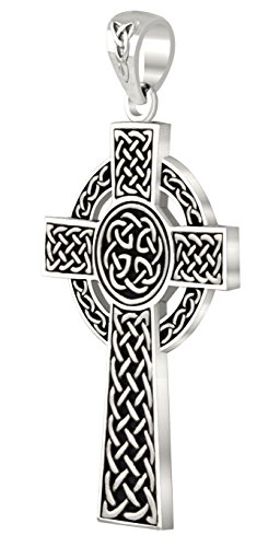 (US Jewels And Gems Men's 0.925 Sterling Silver Irish Celtic Knot Cross Religious Pendant)